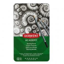 Derwent - Academy lpiz de carbn Gris 12 piezas