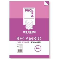 Pacsa - RECAMBIO 90 GRS  4 TALADROS FOLIO 215X310MM 100 HOJAS CUADRCULA 4X4 CON MARGEN PACSA 21261