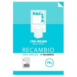 Pacsa - RECAMBIO 70 GRS 4 TALADROS FOLIO 215X310MM 100 HOJAS CUADRCULA 4X4 CON MARGEN PACSA 21211