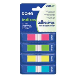 DOHE - BLISTER 4 BLOCS DE 50 NDICES EN 4 COLORES SURTIDOS NEON 12X45 DOHE 75021