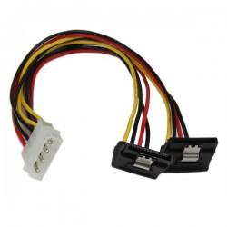 StarTechcom - Adaptador Cable 30cm Divisor de 4 Pines LP4 a Doble SATA en ngulo Derecho Cierre Seguridad