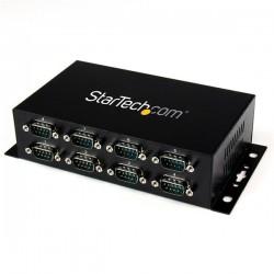 StarTechcom - Adaptador Hub Concentrador USB a 8 Puertos Serie RS232 Industrial Montaje en Pared Riel DIN