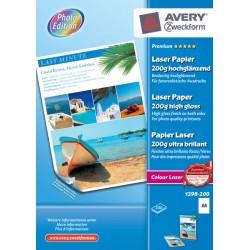 Avery - Premium Colour Laser A4 200g papel para impresora de inyeccin de tinta A4 210x297 mm Brillo 200 hojas Blanco