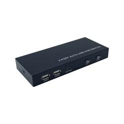 AISENS - Conmutador KVM HDMI 4K60HZ USB 1U-2PC con fuente alimentacin Negro