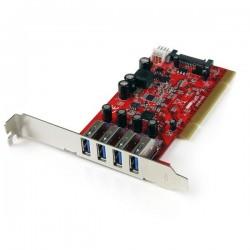 StarTechcom - Tarjeta Adaptador PCI USB 30 SuperSpeed de 4 puertos con Conector LP4 SATA - Hub Concentrador Interno