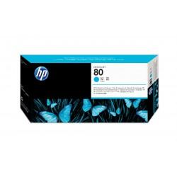 HP - Limpiador de cabezales de impresin y cabezal de impresin DesignJet 80 cian