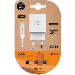 TECH1TECH - TEC2403 cargador de dispositivo mvil Blanco Interior