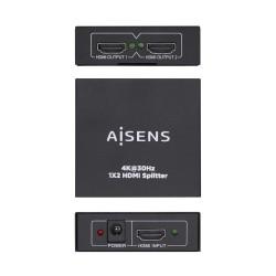 AISENS - HDMI Duplicador 4K30HZ 1x2 con alimentacin Negro