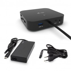 i-tec - USB-C Dual Display Docking Station with Power Delivery 65W  Universal Charger 77 W