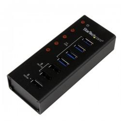 StarTechcom - Hub Concentrador USB 30 de 4 Puertos y 3 Puertos de Carga USB  2x 1A y 1x 2A - Ladrn con Carcasa de Metal