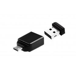 Verbatim - Nano - Unidad USB de 32 GB con adaptador Micro USB - Negro