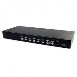 StarTechcom - Conmutador Switch KVM 8 Puertos de Vdeo VGA HD15 USB 20 USB A y Audio - 1U Rack Estante