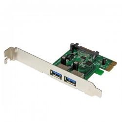 StarTechcom - Tarjeta PCI Express de 2 Puertos USB 30 SuperSpeed con UASP y Alimentacin SATA - Adaptador Interno