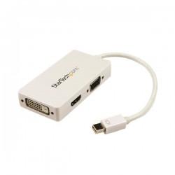 StarTechcom - Adaptador Conversor de Mini DisplayPort a VGA DVI o HDMI - Convertidor A/V 3 en 1 para viajes - Blanco