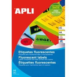 APLI - 02879 etiqueta autoadhesiva Rectngulo Permanente Naranja 20 piezas