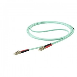 StarTechcom - Cable de 15m de Fibra ptica Multimodo Dplex 50/125 LC a LC - Aqua - OM4 - LSZH