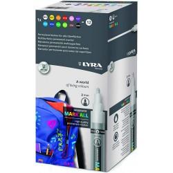 Lyra - ESTUCHE COLORES SURTIDO 12 MARCADORES PERMANENTES LYRA MARK ALL 2 MM  LYRA GROOVE L6821120