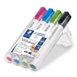 Staedtler - Lumocolor 351 marcador 4 piezas Punta redonda Negro Azul claro Verde claro Rosa
