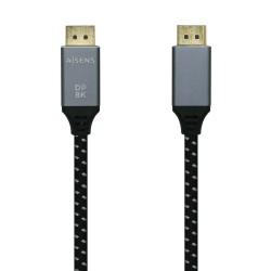 AISENS - Cable Displayport V14 8k60hz DP/M-DP/M Gris/Negro 05m