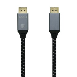 AISENS - Cable Displayport V14 8k60hz DP/M-DP/M Gris/Negro 30m
