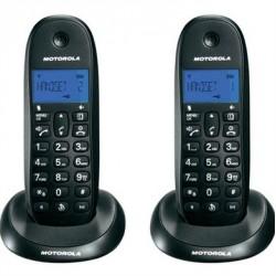 Motorola - C1001L Duo Telfono DECT Identificador de llamadas Negro