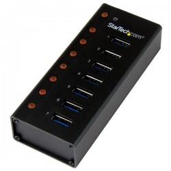 StarTechcom - Concentrador USB 30 de 7 Puertos con Caja de Metal - Hub de Sobremesa o Montaje en Pared