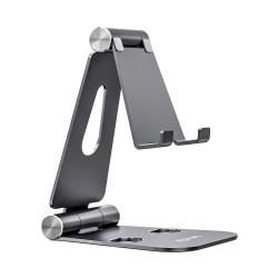 AISENS - Soporte De Sobremesa Tamao XL Ajustable 2 Pivotes Para Movil / Tablet Gris