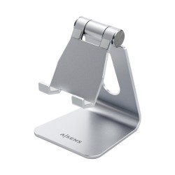 AISENS - Soporte De Sobremesa Tamao M Ajustable 1 Pivote Para Movil / Tablet Plata