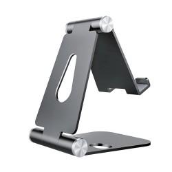 AISENS - Soporte De Sobremesa Tamao M Ajustable 2 Pivotes Para Movil / Tablet Gris