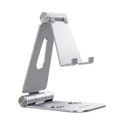 AISENS - Soporte De Sobremesa Tamao XL Ajustable 2 Pivotes Para Movil / Tablet Plata
