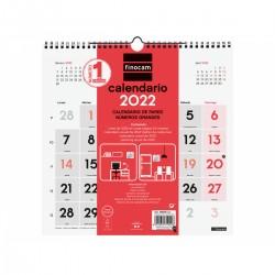 Finocam - Calendario Neutro de Pared nmeros grandes 2022 - 780570022