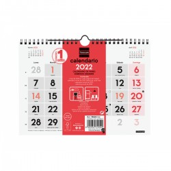 Finocam - Calendario Neutro de Pared Nmeros Grandes 2022 - 780200022