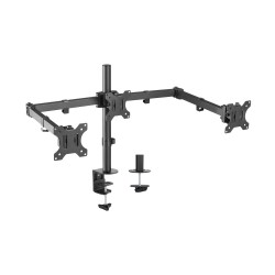 AISENS - Soporte De Mesa Eco Giratorio E Inclinable Para 3 Monitores 7kg 3 Pivotes 2 Brazos De 13-27 Negro