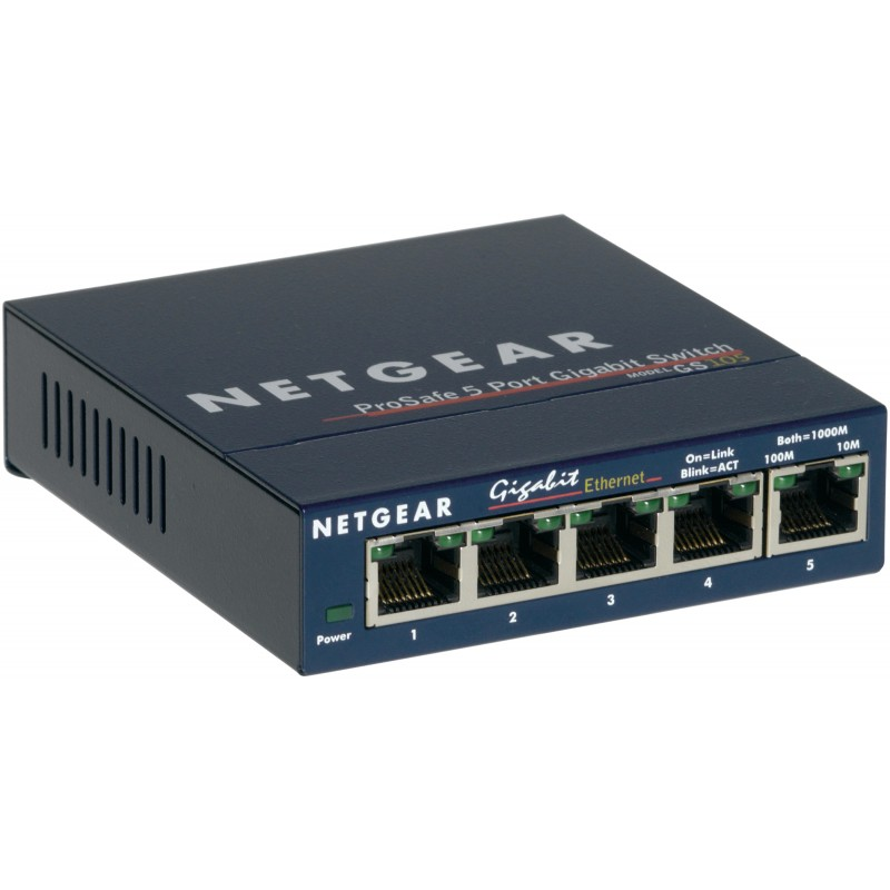 Netgear - GS105 No administrado Gigabit Ethernet 10/100/1000 Azul