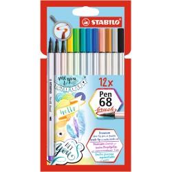 STABILO - Pen 68 Brush rotulador Fuerte Multicolor 12 piezas