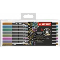 STABILO - Pen 68 Metallic rotulador Medio Metlico Multicolor 8 piezas - 106881108