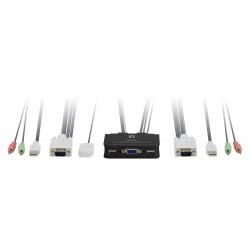 LevelOne - KVM de 2 puertos VGA USB Audio