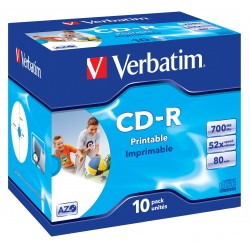 Verbatim - CD-R AZO Wide Inkjet Printable 700 MB 10 piezas