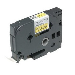 Brother - Gloss Laminated Labelling Tape - 12mm Black/Yellow cinta para impresora de etiquetas TZ