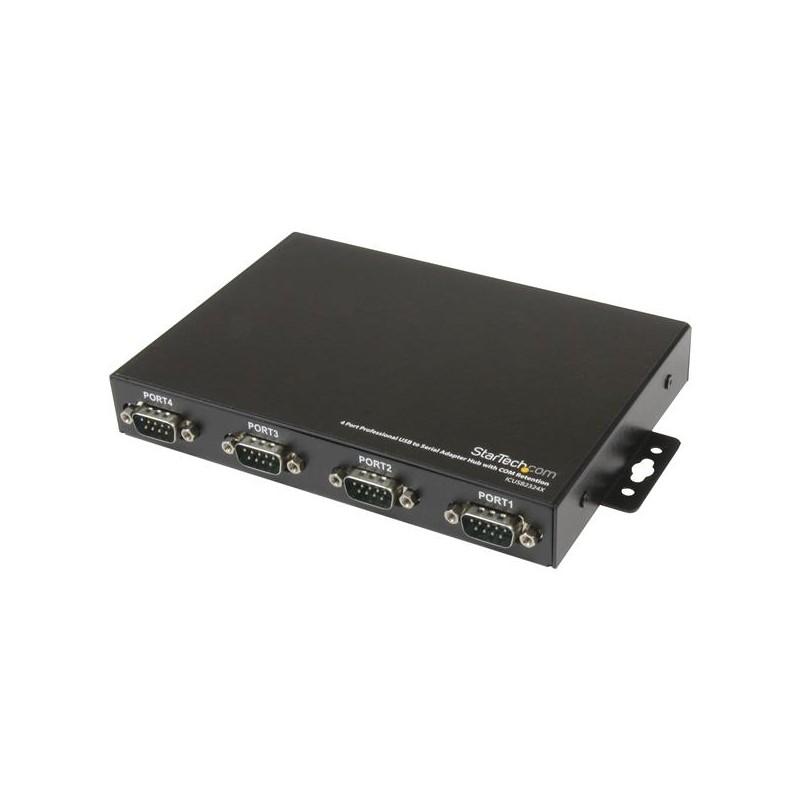 StarTechcom - Adaptador Concentrador Hub 4 Puertos Serie Serial RS232 DB9 a USB con Retencin Puerto COM