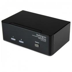 StarTechcom - Conmutador Switch KVM de 2 Puertos Doble Monitor DVI Audio 4 Puertos USB 1920x1200