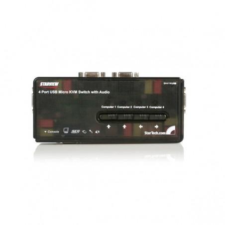StarTechcom - Juego de Conmutador Switch KVM 4 Puertos Vdeo VGA USB 20 con Cables y Audio