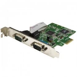 StarTechcom - Tarjeta Serie PCI Express de 2 Puertos DB9 RS232 con UART 16C1050 - Adaptador Interno Serie PCI-E