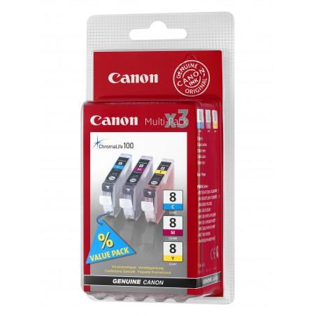 Canon - CLI-8 CMY 3 piezas Original Cian Magenta Amarillo