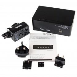StarTechcom - Conmutador Switch KVM de 2 Puertos Doble Monitor DVI VGA Audio 4 Puertos USB 1920x1200