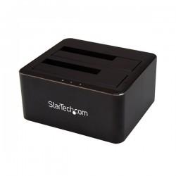 StarTechcom - Docking Station USB 30 de 2 Bahas SATA de 25 o 35 Pulgadas para SSD o Disco Duro Base de Conexin para Unidad