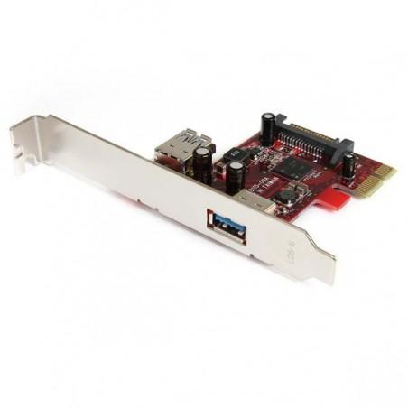 StarTechcom - Tarjeta Adaptador PCI Express PCI-E USB 30 SuperSpeed de 2 Puertos con UASP - 1 Interno - 1 Externo