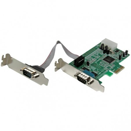 StarTechcom - Tarjeta Adaptadora PCI Express de 2 Puertos Serie de Perfil Bajo RS232 UART 16550 Serial