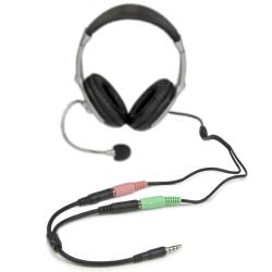 StarTechcom - Adaptador de Auriculares con Micrfono Mini-Jack 35mm 4 pines a Conectores Separados de Auriculares y de Micrfo