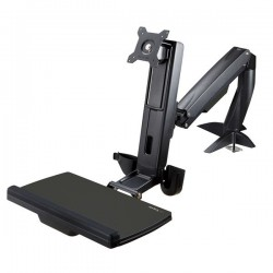 StarTechcom - Brazo de Soporte de Pie y Sentado Ajustable VESA para Monitores de hasta 24 Pulgadas con Soporte para Teclado y R